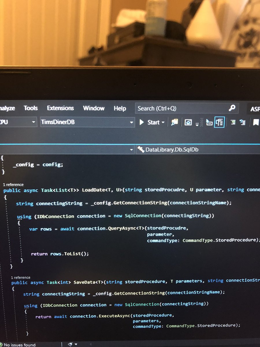 Day 34: #csharp connecting to a database using dapper. I'm playing around with threading with async task. #SQLServer  #dapper. For all my #dotnet developers What's your thoughts on Dapper? Do you like  entity framework better? #100DaysOfCode<br>http://pic.twitter.com/kjVcDm1Bpy