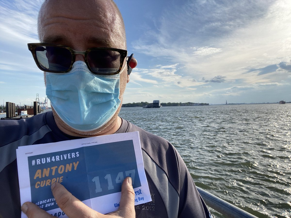 Did my #Run4Rivers b4 rain & NYC curfew. 3+miles, some walking (plantar facitis), and stumbled across great opera on street. I ran for Colorado, Hudson, Thames & many others. Snapped pic of (distant) Statue of Liberty to mark those still having to protest 4 their rights. https://t.co/zNOqdwnrv2