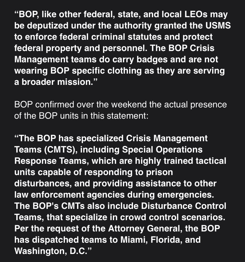 Just In: NBC's Mike Kosnar obtains a statement from the Bureau of Prisons about their un-badged officers in DC. It's long so I screen-shotted it, and their previous statement, sent upon their deployment