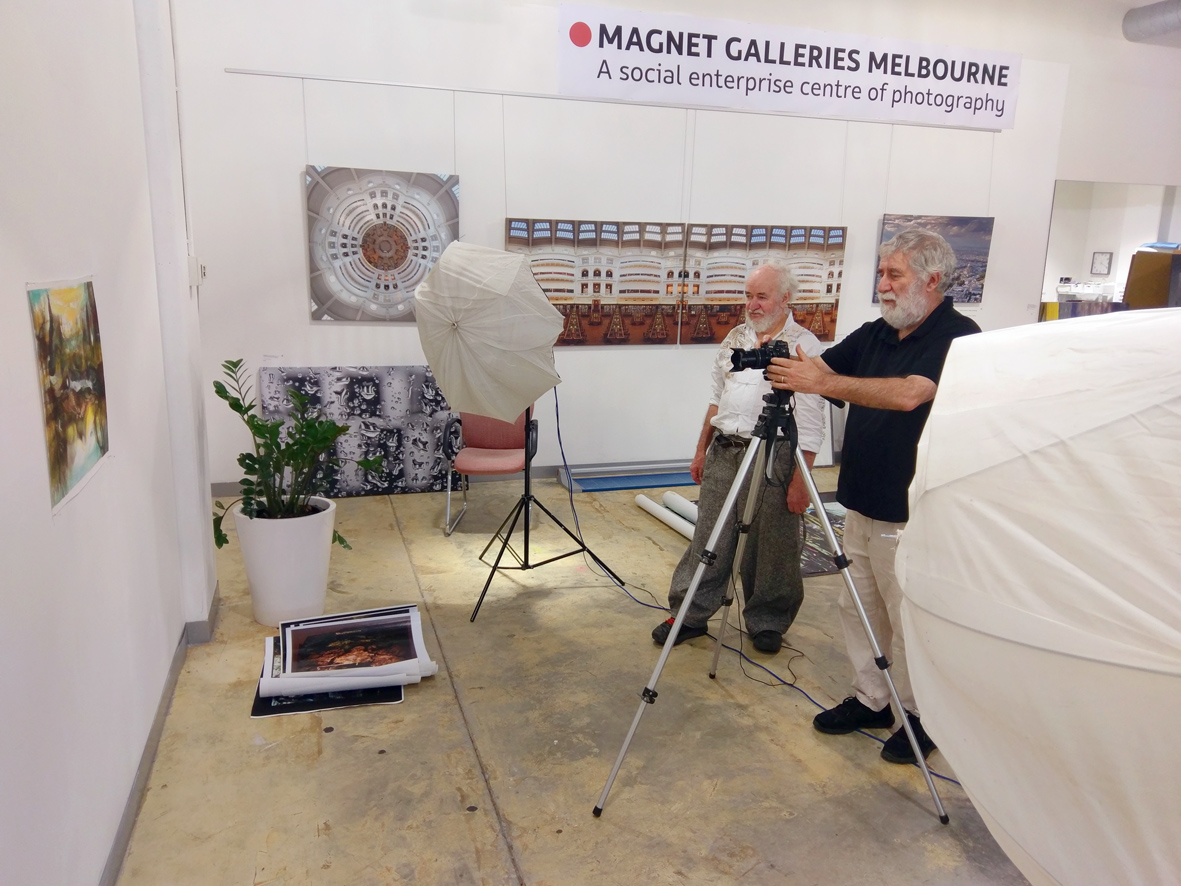 @magnetorgau has re opened with the ongoing Vintage exhibition on until the 27th. Here is Michael #photographing artworks by Neil Mcleod for a new book.  #printing #print #photography #magnetgalleriesmelbourne #melbourne #photonetfineartprinting #photo #gallery #exhibition