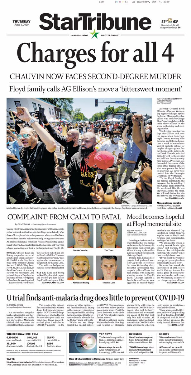 Minnesota AG Keith Ellison charges all four ex-Minneapolis police officers in the death of George Floyd.   The front page of Thursday's @StarTribune. https://t.co/xDtzhieAZX