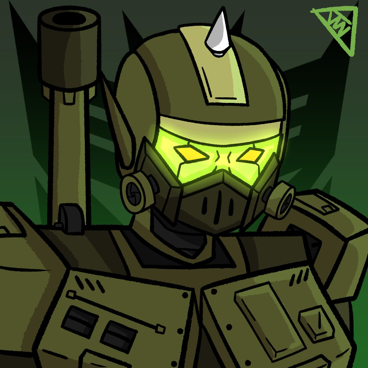 A bust I drew of my #Transformers OC Panzerfrau. Really love playing with glow effects.<br>http://pic.twitter.com/vSsHBIOMju