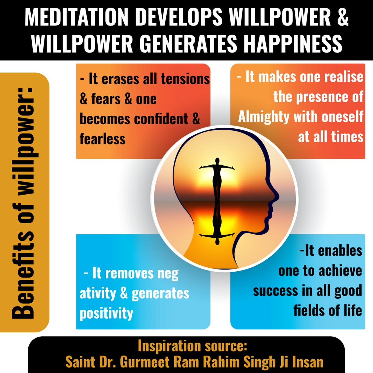 The greatest way to increase your willpower and self-esteem is meditation. If you want physical, mental and emotional relief. Do meditation regular for few minutes. It will reduces your negative thoughts as well. I am meditating every day. Do you??? #ThursdayThoughts <br>http://pic.twitter.com/Lq8OZFKpTt
