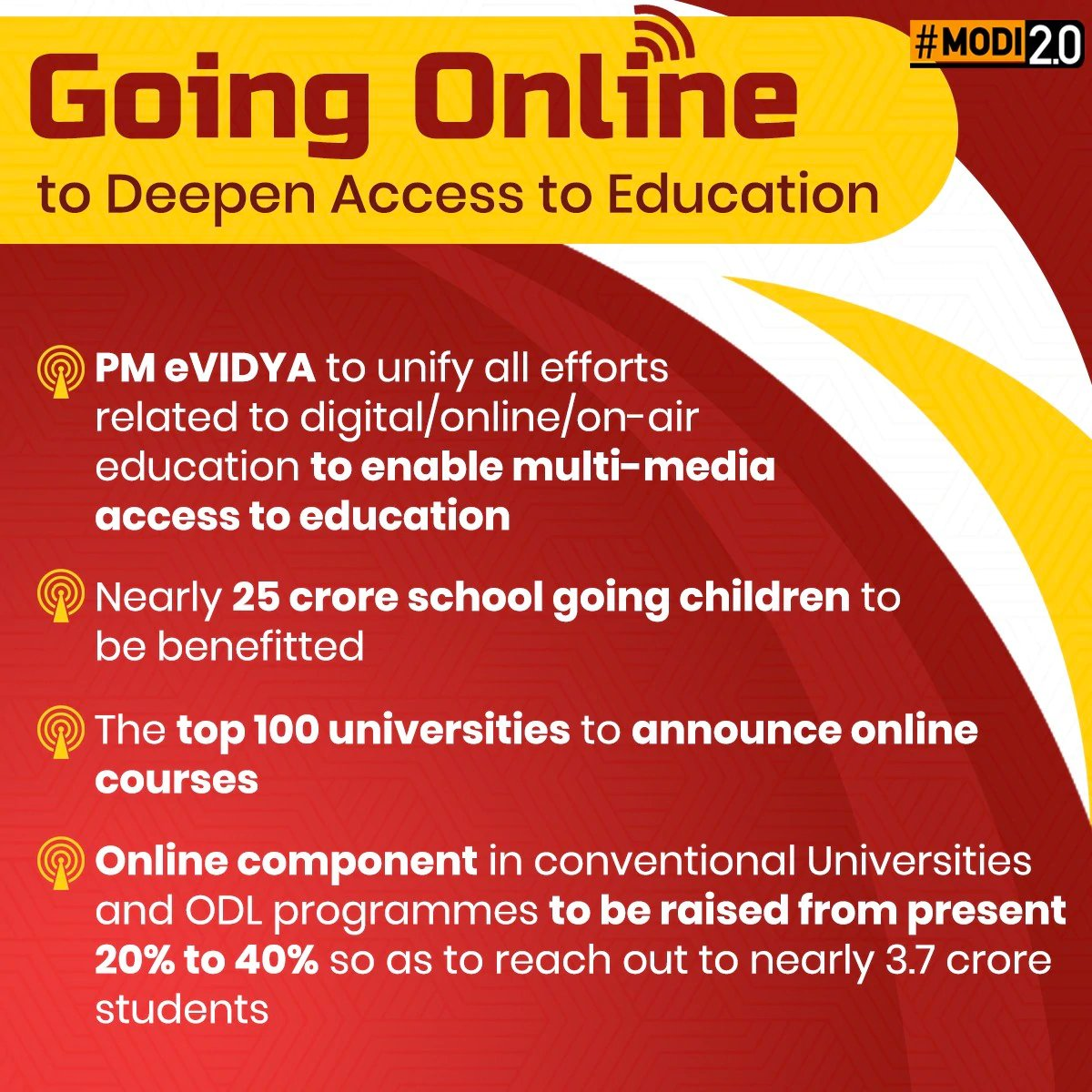 A new paradigm of learning has been announced within the first year of NaMo 2.0. Focus on online learning that integrates technology has been given a push like never before. #Opportunities4Youth<br>http://pic.twitter.com/tG22VXDRqY