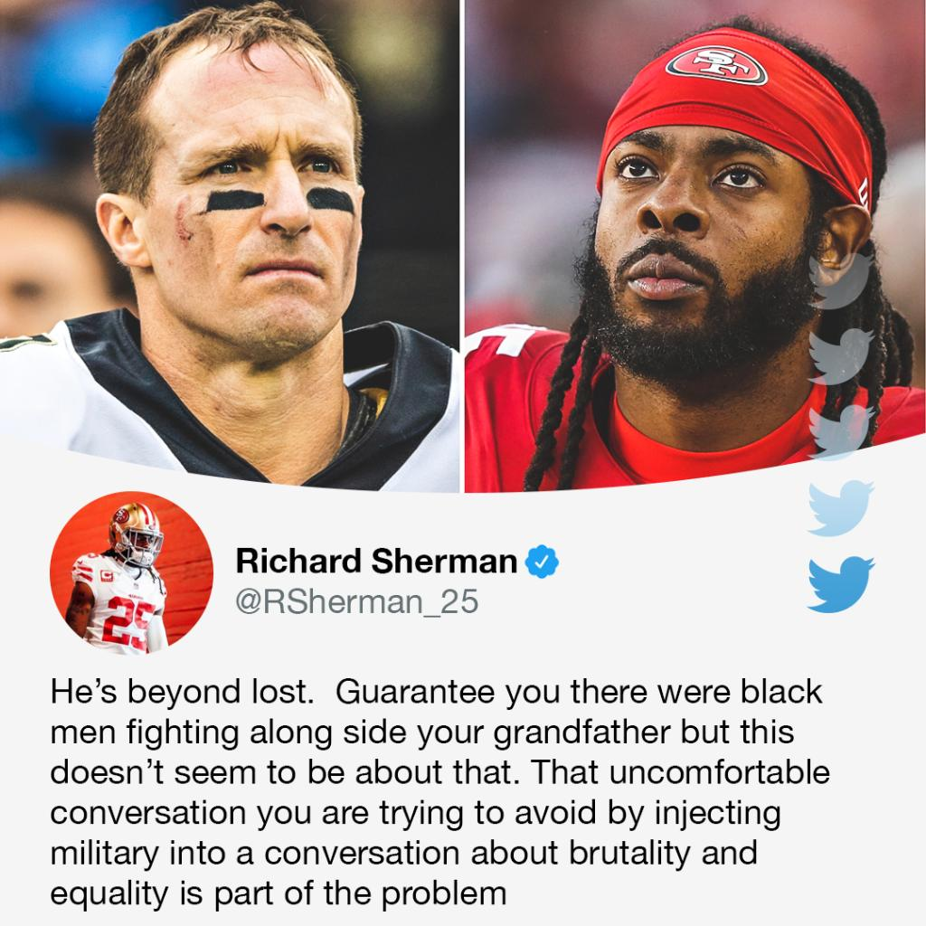 Richard Sherman responds to Drew Brees' comments on kneeling during the national anthem.