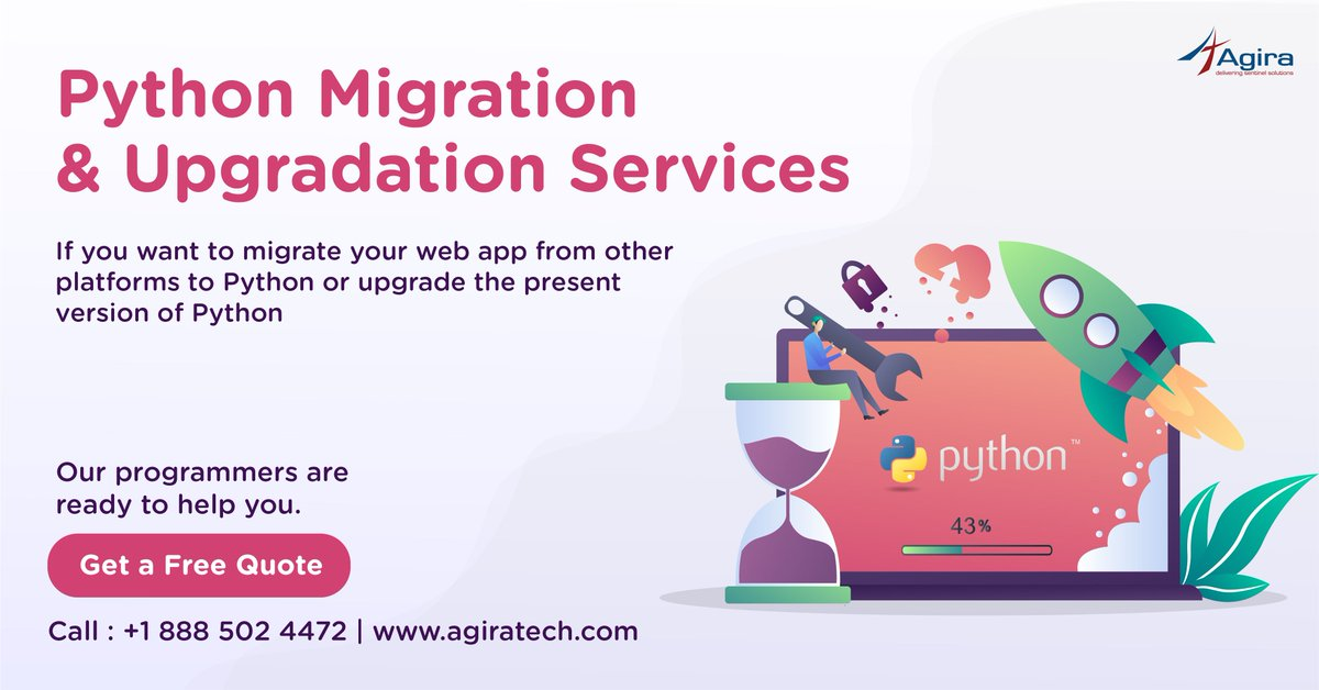 Looking for Python Migration or Upgradation services? Hire our Python experts for hassle-free deployment and customization for your existing applications. Call us on +1 888 502 4472. Visit us  https:// buff.ly/2UbAWXf     <br>http://pic.twitter.com/88MBzLnnfX