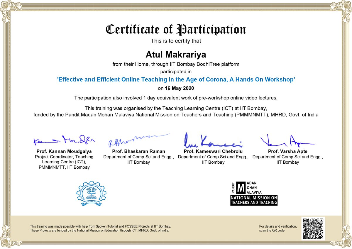 Dr Atul Makrariya, Associate Prof. Electronics & Communication Engineering, Kanpur Institute of Technology (KIT) successfully attended a Hands-on workshop organized by IIT Bombay BodhiTree platform and was awarded a certificate. <br>http://pic.twitter.com/Vr4yjGlrEd