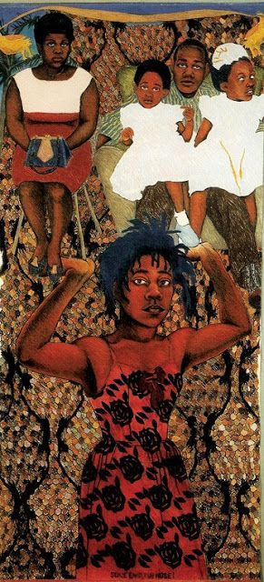 SHE AIN'T HOLDING THEM UP, SHE'S HOLDING ON (SOME ENGLISH ROSE), Sonia Boyce, 1986 https://t.co/qV3iJncmv5