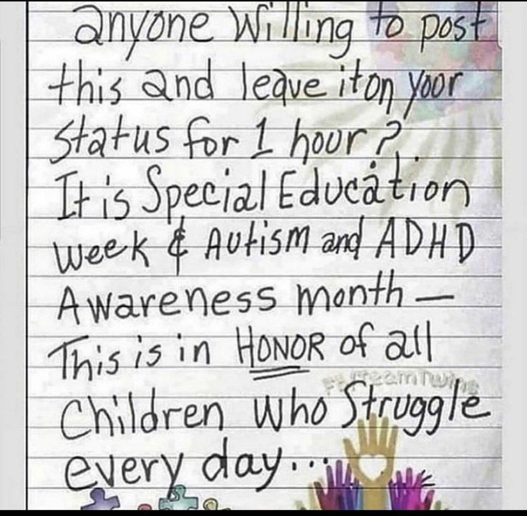 Posted for #SpecialEducationWeek #AutismAwarenessMonth #ADHDAwarenessMonth https://t.co/9IROv8Dvkc