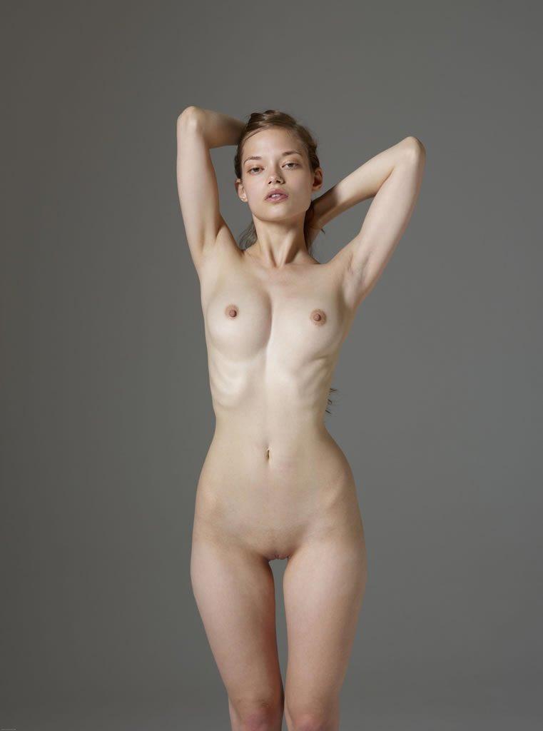 Nude Skinny Girl Gap Between Legs