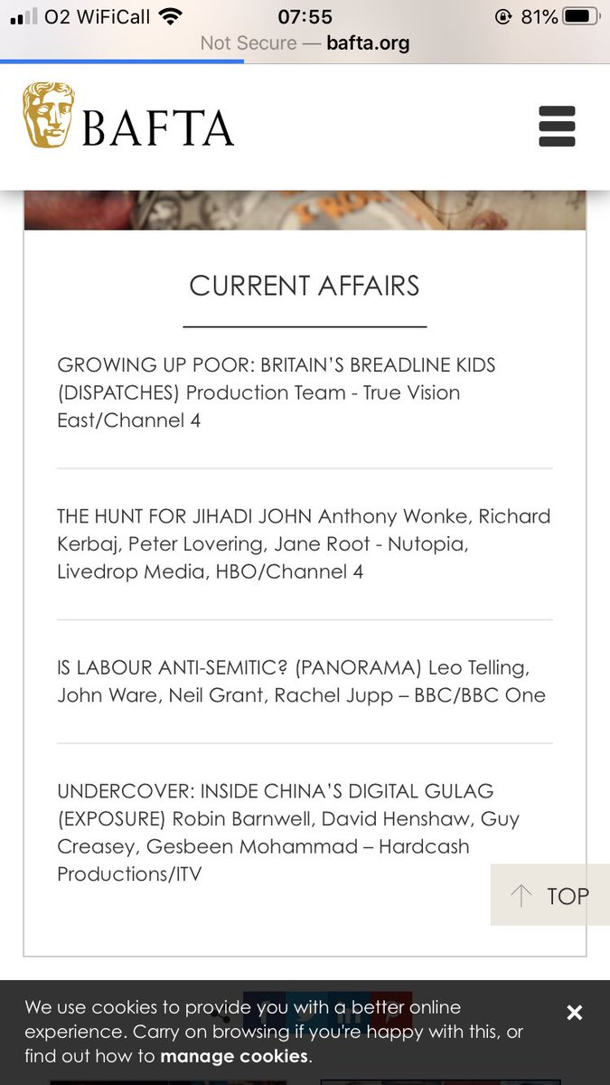 Absolutely delighted that @C4Dispatches Growing Up Poor: Britain's Breadline Kids has been nominated for a BAFTA. It was one of the first films I commissioned at C4 and sensitively told the story of children growing up in poverty. It's still up on All 4 - narrated @Sheridansmith1