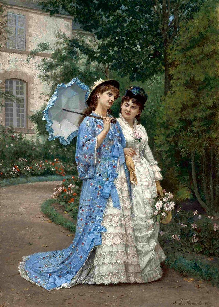 A Garden Stroll (1877) by Auguste Toulmouche (France, 1829–1890). #VintageFashion #Blue pic.twitter.com/eMvo0AEQNA