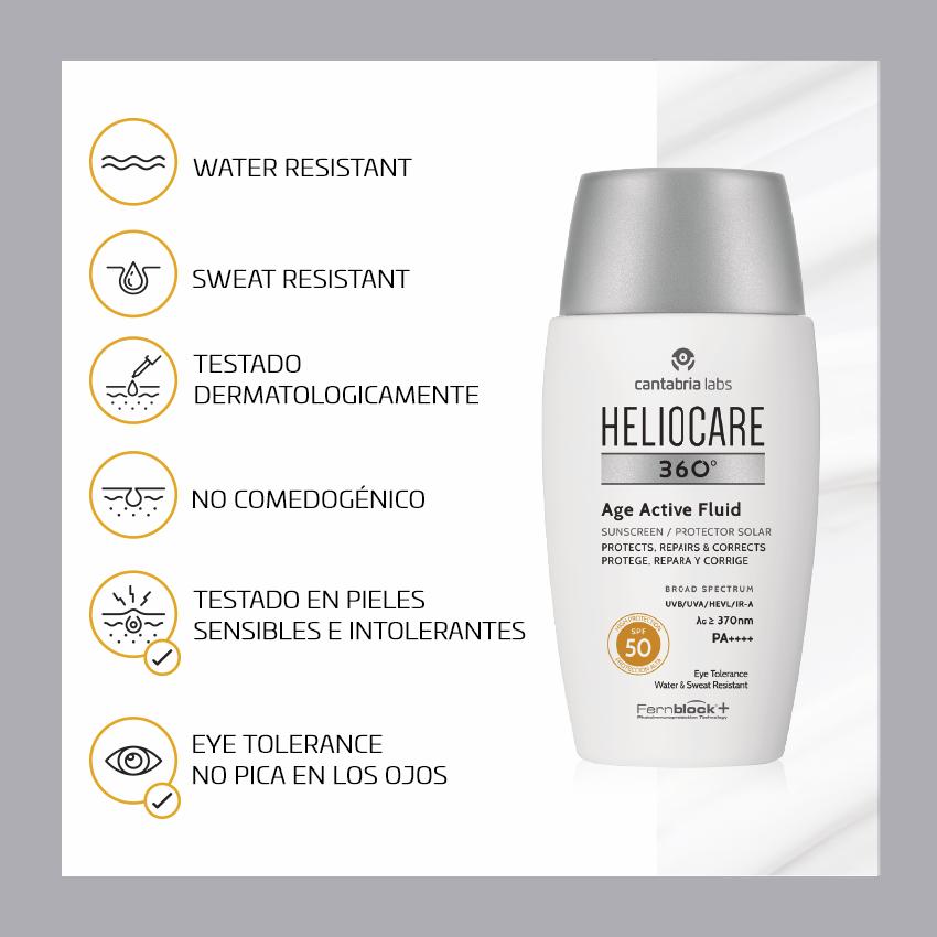 El nuevo HELIOCARE 360º Age Active Fluid SPF  50 cuenta con una fórmula no comedogénica resistente al agua. Apto para todo tipo de pieles, incluso las más sensibles e intolerantes y no pica en los ojos. Ya disponible en farmacias https://t.co/XpXj0bz1Qt #LANZAMIENTO #HELIOCARE https://t.co/hEqYk2hZ8W