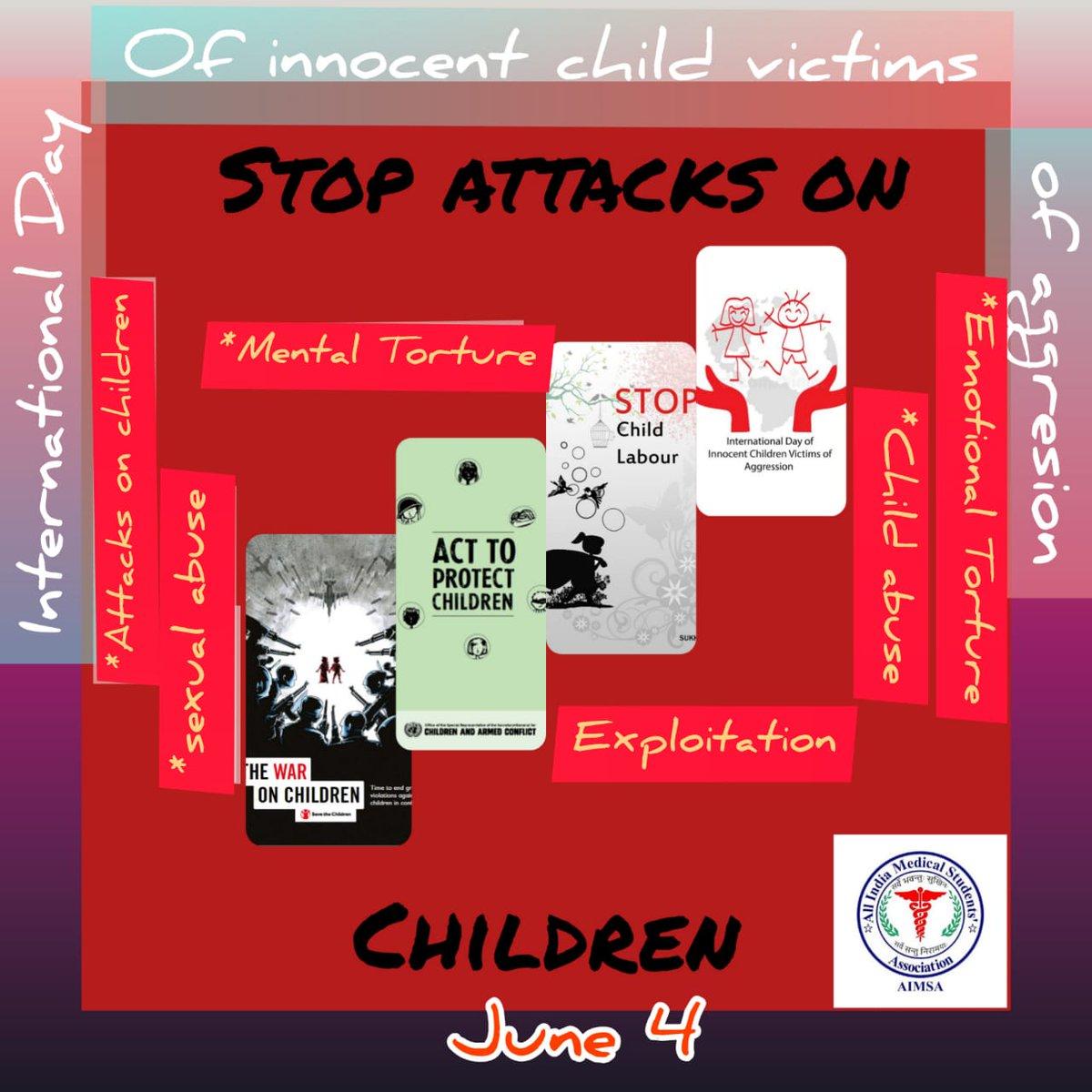 Stop Attacks On Children! By-Lovee Kalra (Batch 2018)  #AIMSA #AIMSAUP<br>http://pic.twitter.com/dsblDQWzty