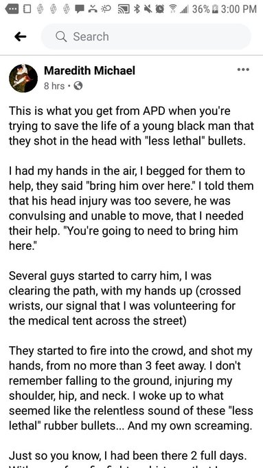 An eye witness account from a medic who was shot by APD in the process of trying to administer medical aid to victim Justin Howell. #GeorgeFloyd #hisnameisjustinhowell #BlackLivesMatter https://t.co/RZc210a09w