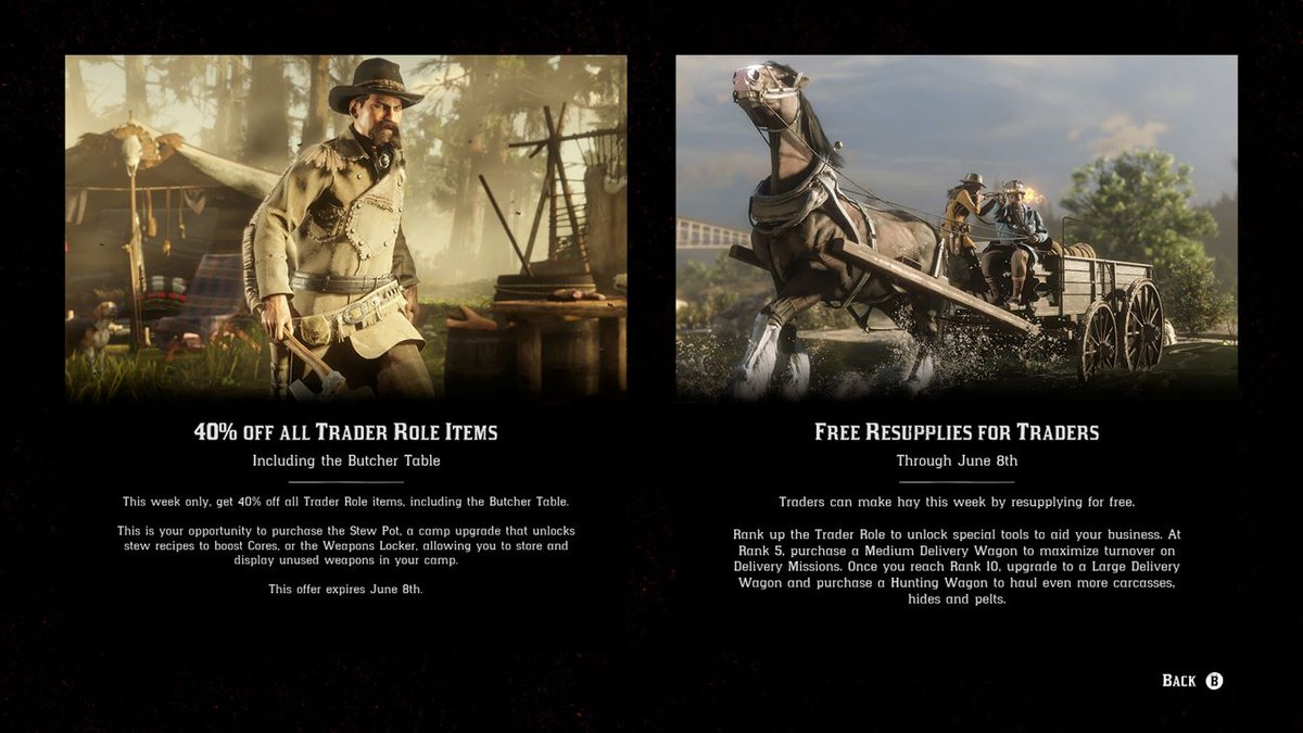- 40% Off ALL Trader Role Items - Free Resupplies for Traders - Halloween masks are available from Madam Nazar #RedDeadOnline<br>http://pic.twitter.com/EQIkHTTFwr