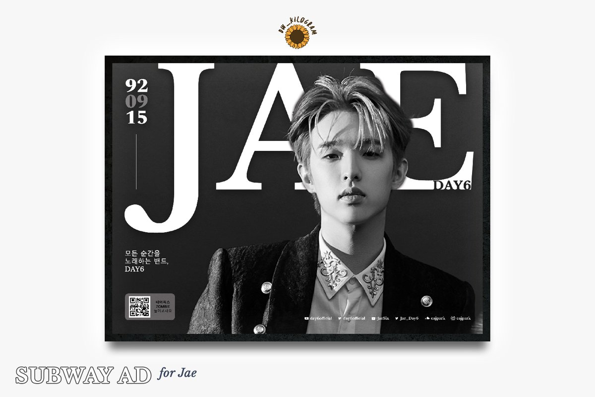 Hi! I designed this JAE subway ad~ Made the design simple so ppl would just focus on Jae's visuals   I'd appreciate it if you'll support it -  http:// naver.me/5fEEn9Uj     (until June 7)   #day6edit #DAY6  #데이식스  #The_Book_of_Us  #The_Demon  #Zombie #DAY6_Zombie <br>http://pic.twitter.com/RKGXGe6Ras