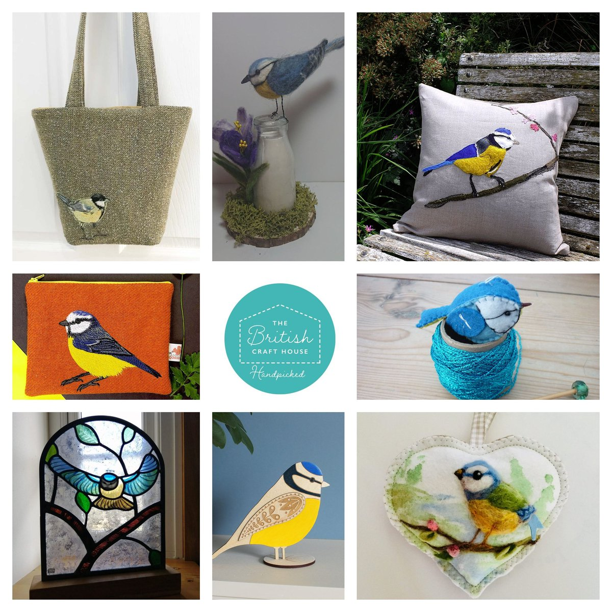 All these beautifully crafted Blue Tits are from makers @britishcrafthouse. Clockwise from top right #tbch #handmade #tbchboosters  @tuliphousenorfolk @wjneedlework sweetlibertybelle @Etchable_laser @CariadGlass @thecannysquirrel @Irene_C_designs @adorsdesign pic.twitter.com/nHuec62yGu