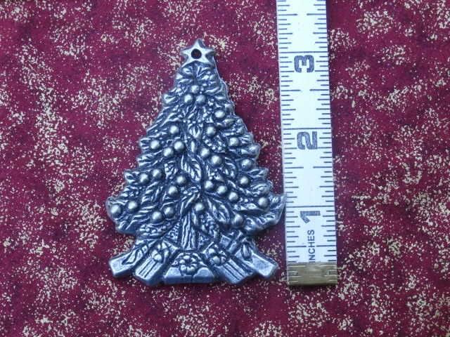 Vintage Christmas Tree Shaped Metal Ornament Silver Color Metal 1993 Silver Toned Metal  #silver #christmas #bedroom #ornament #metalornament #gifttopper #smallthings #teamwwes #christmastree