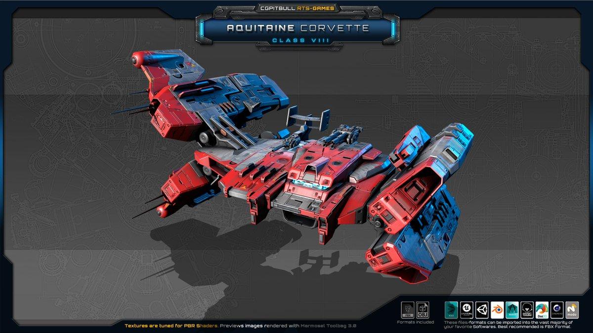 #indiedev #UnityAssetStore #SubstancePainter #gaming #Unity3D #gamedev  #pcgame @spaceshipsporn @KenneyNL @lowpoly_bot  #videogames #games @Dilmerv   New, CGPitbull Spacecraft Model on AssetStore (Aquitaine Corvette):