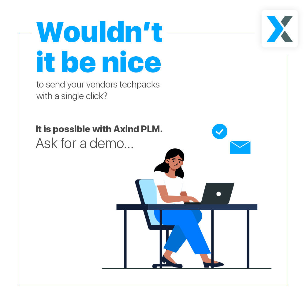 Wouldn't it be nice to send your vendors techpacks with a single click? -It is possible with Axind PLM. Ask for a demo  Request demo at   #fashion #technology #business #Entrepreneurship  #work #software #fashionblogger