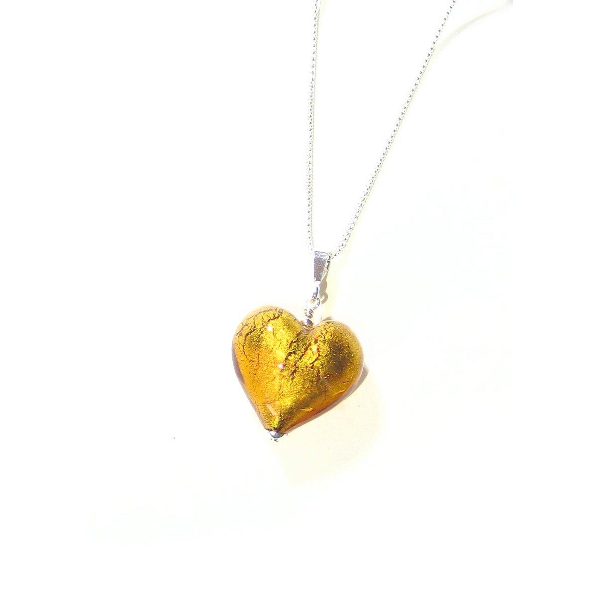 Murano Glass Topaz Amber Puffy Heart Pendant  #fashion #etsymntt #earrings #handmade #jewelry #murano