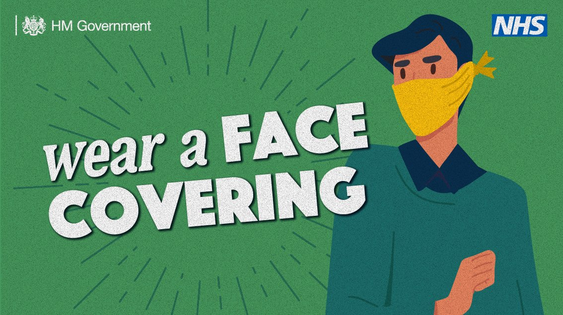 Remember to wear a face covering if you can when travelling on public transport, or going into an enclosed space. #StayAlert