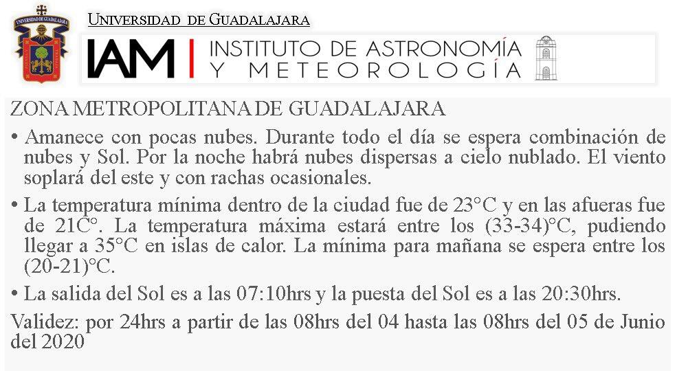 #PronósticoDelTiempoUDG Consulta el pronóstico del tiempo de este #jueves   para el Área Metropolitana de Guadalajara #AMG   #YoMeQuedoEnCasa https://t.co/wLW2yGVTid