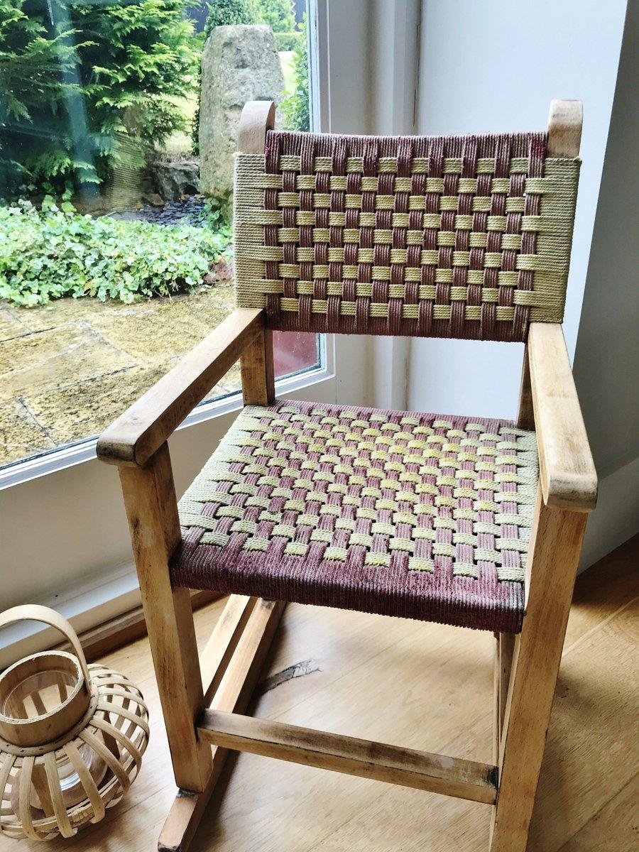 Vintage child's rocking chair #etsy shop: Vintage Woven Child's Rocking Chair  #brown #red #no #toddler #vintage #wooden #woven #jute #childs
