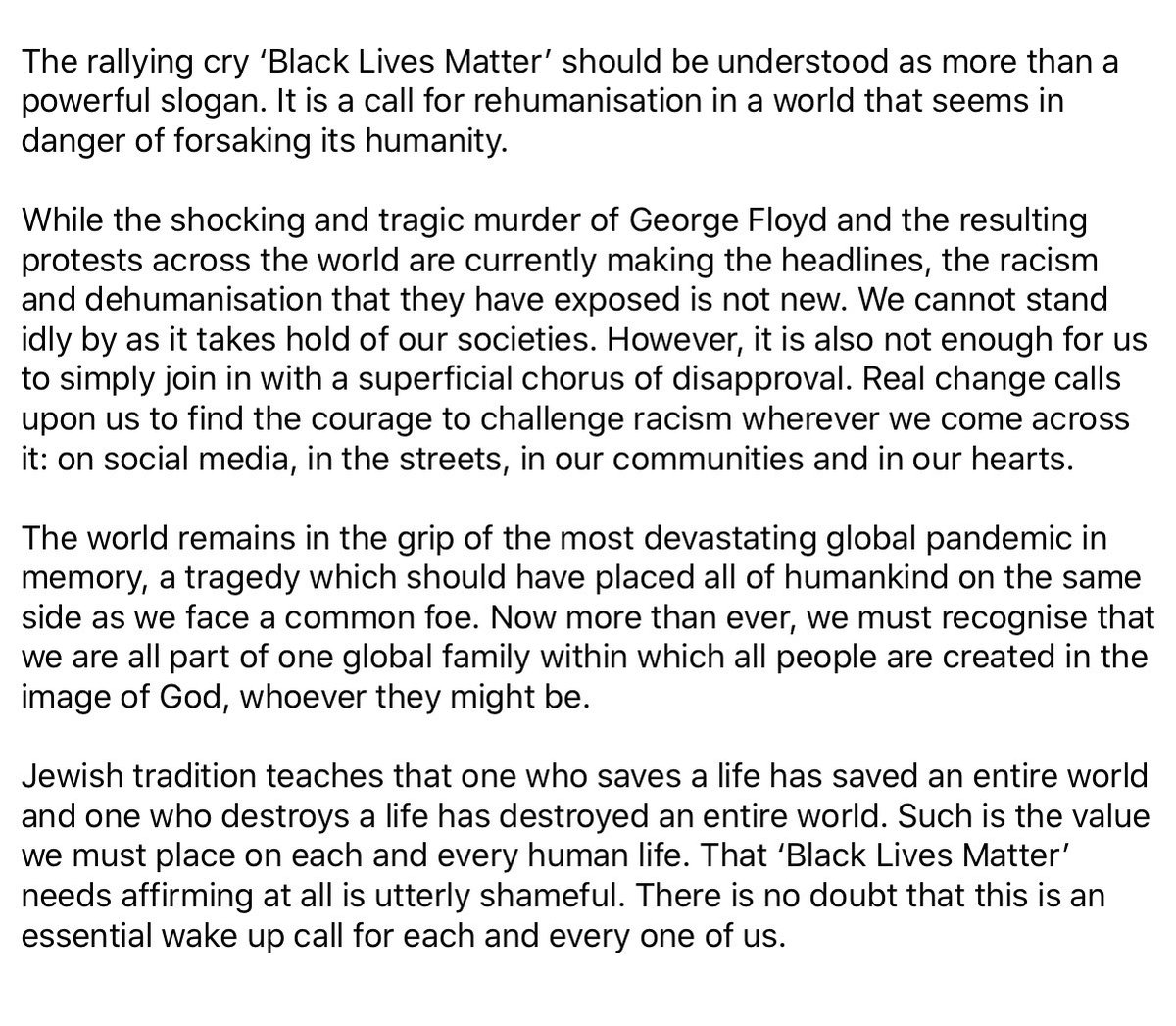 """Chief Rabbi: """"That #BlackLivesMatter needs affirming at all is utterly shameful. There is no doubt that this is an essential wake up call for each and every one of us."""" https://t.co/umrWuuj8LL"""