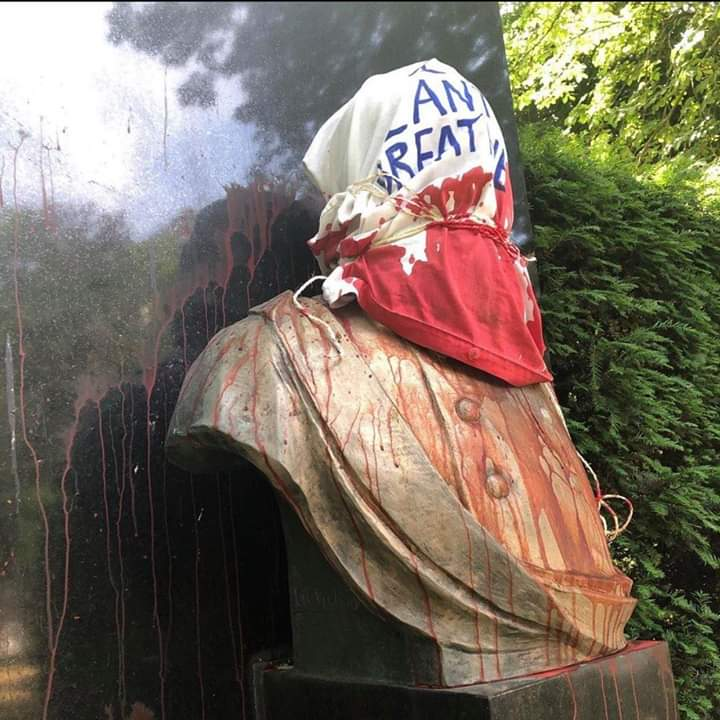 Black Lives Matter protesters in Belgium defaced the bust of King Leopold II, who was responsible for the colonial genocide of up to 10 million Congolese people. The statue was covered in red paint symbolizing blood and gagged with a canvas that reads I cant breathe.
