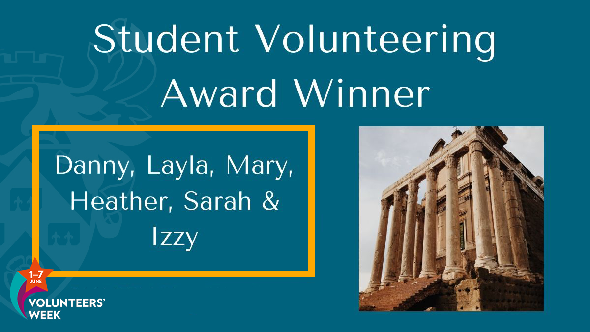 This group of student volunteers created online family activities about the Romans which will be used in @YorkMuseumTrust's upcoming virtual Roman Festival! Their work is bringing history to life, even at home.   🏆 #StudentVolunteeringAwards @UoYVolunteering #VolunteersWeek https://t.co/li37VxWutU