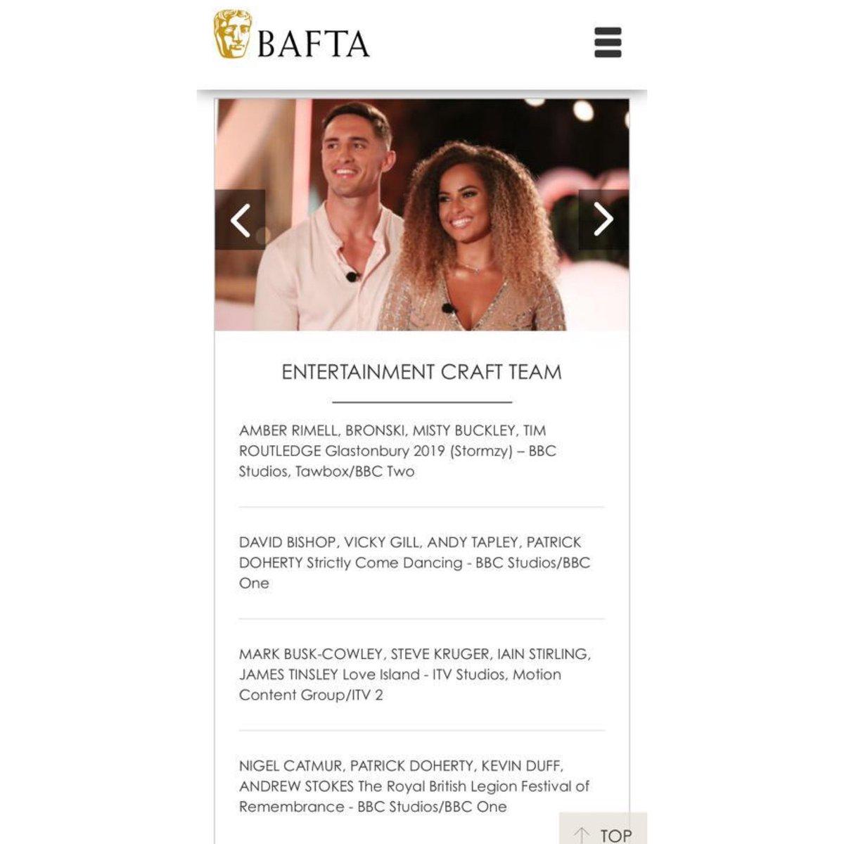 Thank you @BAFTA. Congratulations @LoveIsland!