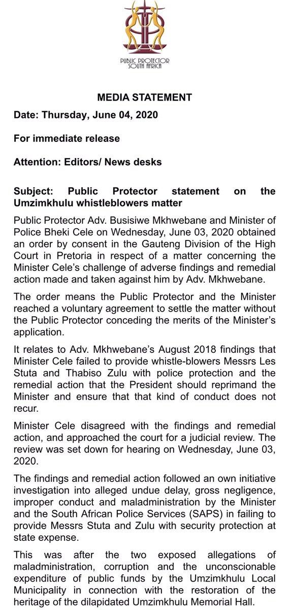 PP @AdvBMkhwebane's statement on the Umzimkhulu whistleblowers matter