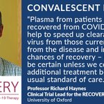 Image for the Tweet beginning: Convalescent plasma is now included