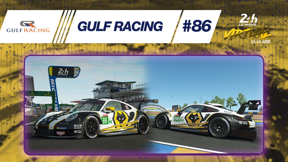 The @Gulf_Racing Porsche 911 RSR will sport 🐺 @Wolves colours for #LeMans24Virtual in a new partnership deal with the English Premier League football club ⚽  #Porsche #Wolves #WEC #RaceAtHome https://t.co/8hK7NlzF76