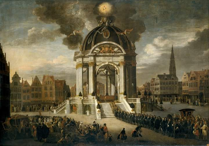 El 27 de agosto de 1685 se celebró en Amberes la procesión del Cristo Redentor conmemorando el centenario de la toma de la ciudad por parte de los Tercios, liderados por Alejandro Farnesio. Una escena extraordinaria, lapidada por la Leyenda Negra. https://t.co/kRnJdjdCTv