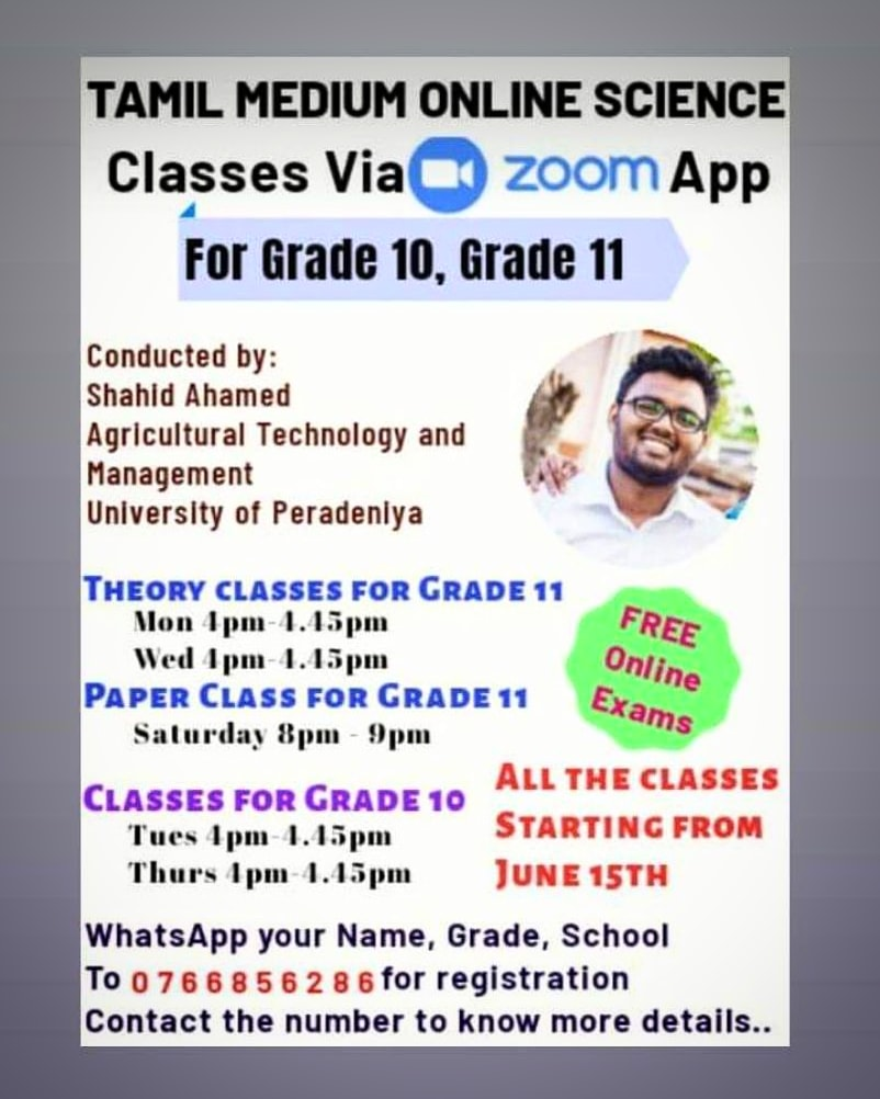 Tamil Medium Science classes for Grade 10,Grade 11 are starting soon! Make your registrations via whatsapp before june 15 #olevel #olevelscience #zoomclass #tamilmediumscience #sciencetamilmedium #grade11 #grade10 #olevelstudent  #colombo #beruwala #aluthgama #scienceclass pic.twitter.com/cBVJe8xDdH