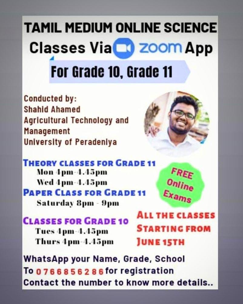 Tamil Medium Science classes for Grade 10,Grade 11 are starting soon via ZOOM app.  Make your registrations via whatsapp before June 15th  #olevel #olevelscience #zoomclass #tamilmediumscience #sciencetamilmedium #grade11 #grade10 #scienceclass pic.twitter.com/cBVJe8xDdHpic.twitter.com/4Nqfp3XOQu