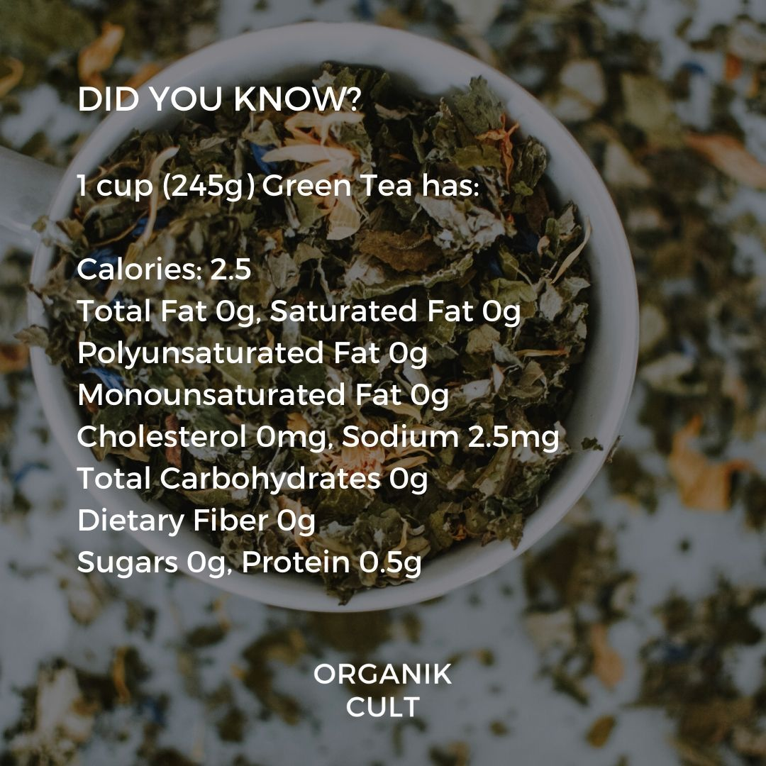 Green Tea Nutritional Facts - Did You Know?  1 cup (245g) Green Tea has:  #organic #organicfood #nutrients #organiclifestyle #allorganics #naturalingredients #organikcult #organicgardening #organicgarden #organicproduce #healthylifestyle #fitness #chemicalfree #safeproducts