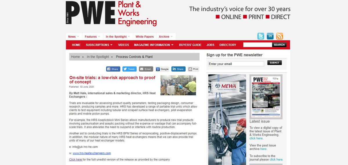 "test Twitter Media - HRS is featured in @PWEmagazine1 ""On-site trials- a low risk approach to proof concept"" where HRS has developed a range of portable trial units which allows clients to test equipments. Read more: https://t.co/5pMmzn9lHI #trialsystems #heatexchangers https://t.co/x5vk7jmze2"