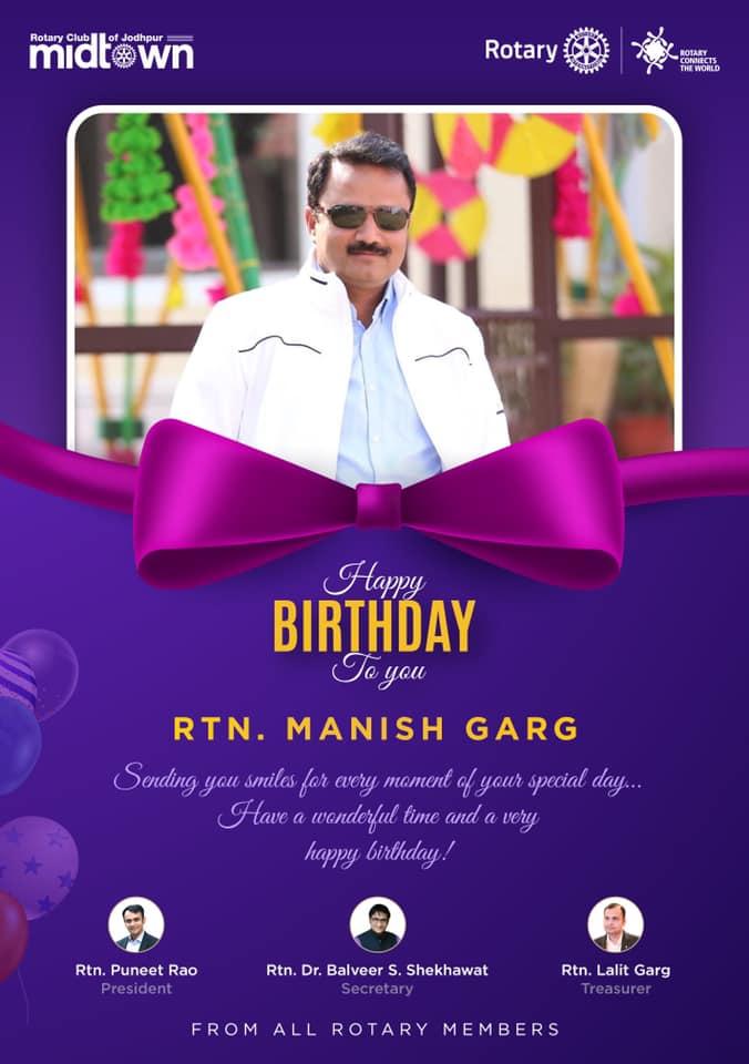 Wishing Manish Ji a very happy birthday and a year full of happiness and success.  #RotaryClub #Rotary #Jodhpur #RotaryClubOfJodhpurMidtown https://t.co/jDQp6GkG0t