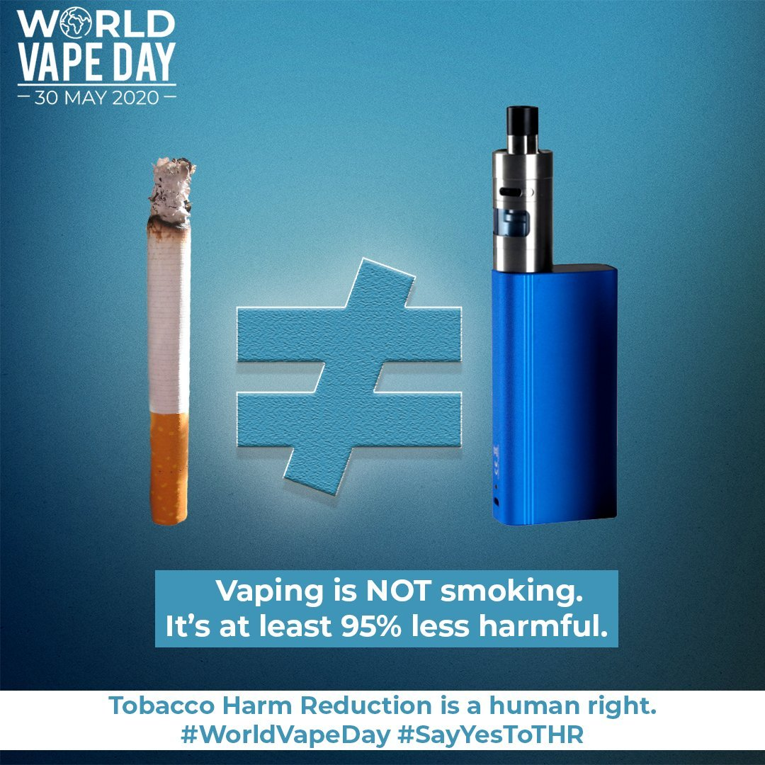 Good morning, #vapefam. As #WorldVapeDay comes to a close, and #WorldVapeYear begins, I will:  A. Look for the good in everything and everyone. B. Advocate for tobacco #HarmReduction, leaving no smoker behind.   #vapingsaveslives  #WeVapeWeVote  .@FDATobacco  .@realDonaldTrump https://t.co/kJaFWLH8uk