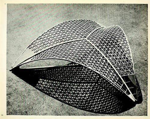"#Model for the #roof #structure of the Centre National des Industries et Techniques in Paris... 1955  ""Robert Edouard Camelot, Jean de Mailly, Bernard Zehrfuss accompanied by the engineer Jean Prouvé...The structural engineer for the concrete shell was Nicolas Esquillan""... pic.twitter.com/fOuSouQaf2"
