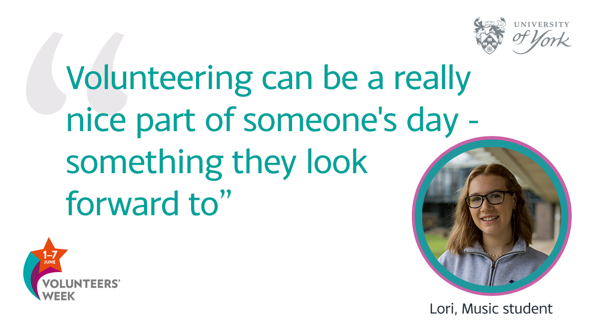 """""""The best thing about volunteering is making other people happy. I enjoy seeing people improve socially, musically and just having a good time. It can be a really nice part of someone's day - something they look forward to."""" - Lori, Chair of @UoYMusicEdGroup   #VolunteersWeek https://t.co/SWcZsrHD3k"""