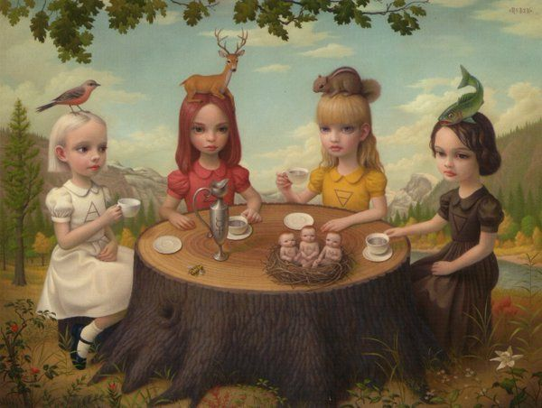 """""""#Humor needs to come in under cover of darkness, in disguise, and surprise people."""" —Garrison Keillor #amwriting Mark Ryden"""