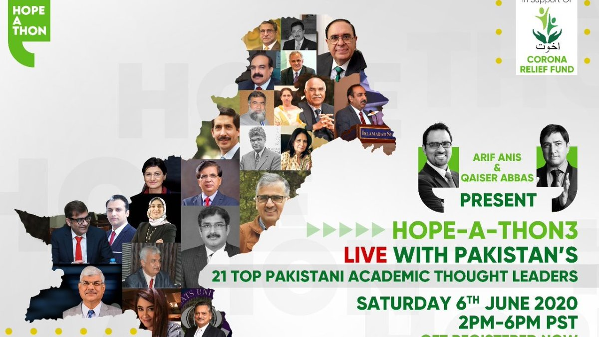 InHopeAThon3 we are engaging academic leaders Vice Chancellors & Rectors from 21 leading universities on a LIVE platform where thousands of participants could join and interact We will also raise funds for Akhuwat Corona Relief Fund @DrAmjadSaqib @saleemranjha @ntunio @abubakrch https://t.co/1Tcbukus7K
