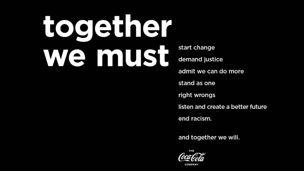 Alleen samen kunnen we werken aan een betere toekomst.   Coca-Cola steunt de organisatie @100BlackMen als deel van de inspanningen om racisme een halt toe te roepen en te streven naar gelijkheid voor iedereen. #BlackLivesMatter https://t.co/cocWi3u7q4