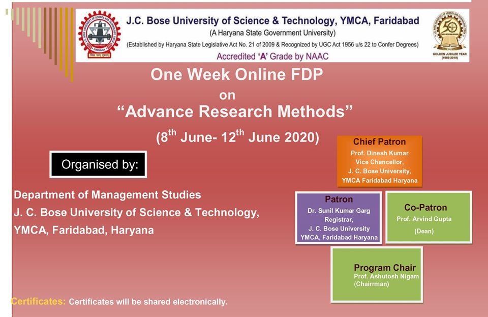 The Department of Management Studies is organizing a week-long online Faculty Development Program on 'Advance Research Methods' from June 8 to 12, 2020. #JCBoseUST #FDP #Management #Saveindia #Supportnation #Covid19 #Stayhealthy #Fightcovid19 #Stayfit #Corona #JCBoseUST #YMCA https://t.co/xyjg8p9QXw