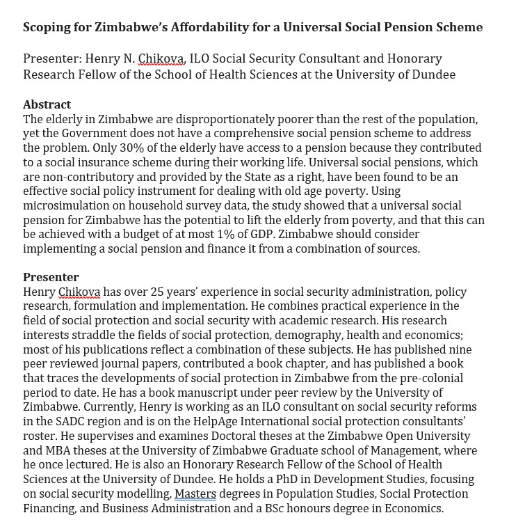 """The @UoDHealthSci Research Seminar Series goes online (for the second time)!  Henry Chikova will present on """"Scoping for Zimbabwe's Affordability for a Universal Social #Pension Scheme""""  #SocialPolicy #HealthyAgeing @MIRU_UK @SISCCscotland @SixsmithJudith @ISSRDundee https://t.co/YCvpEIxDBz"""